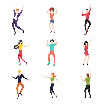 Set of dancing people in flat style.