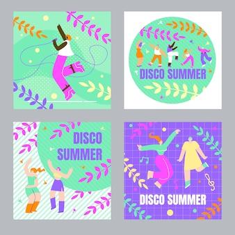 Set dancing people, poster disco summer cartoon card set