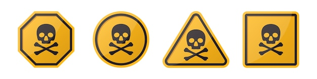 Set of danger hazard sign with skull and crossbones in different shapes in orange