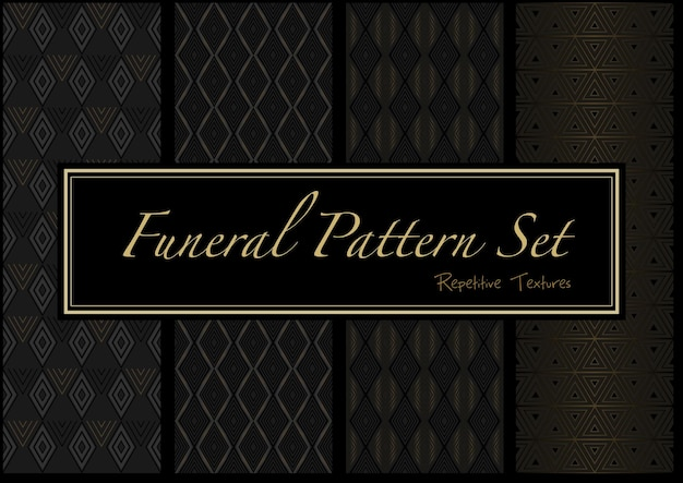 Set of dark funeral patterns in gold and black colors