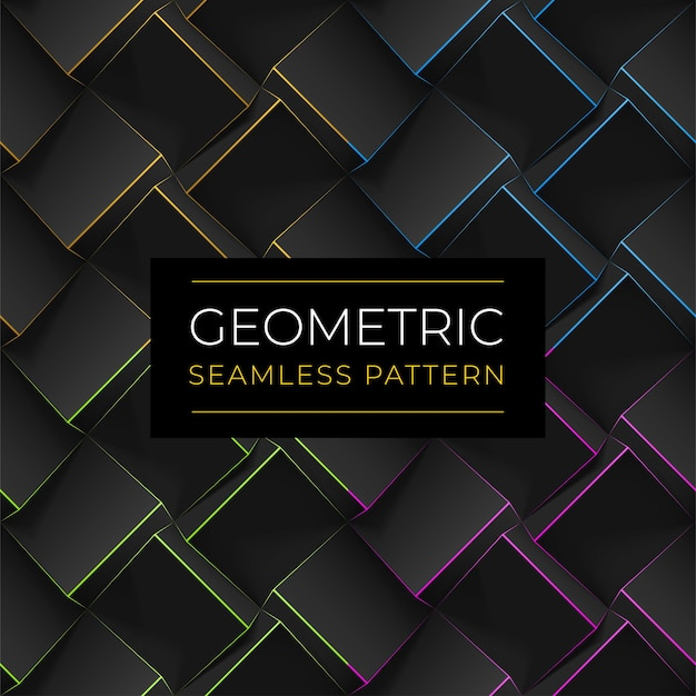 Set of dark geometric seamless patterns. realistic cubes with thin lines.