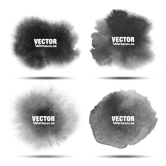 Set of dark gray black watercolor vector circle stains isolated