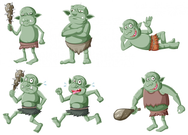 Set of dark green goblin or troll in different poses in cartoon character isolated