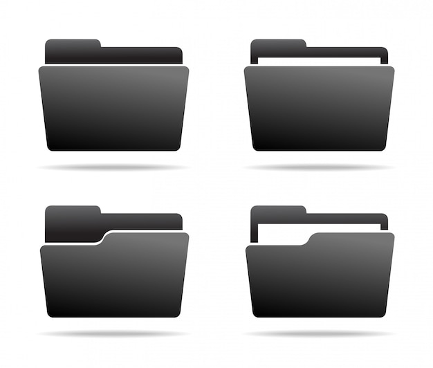 Set of dark grey folder icons.  .