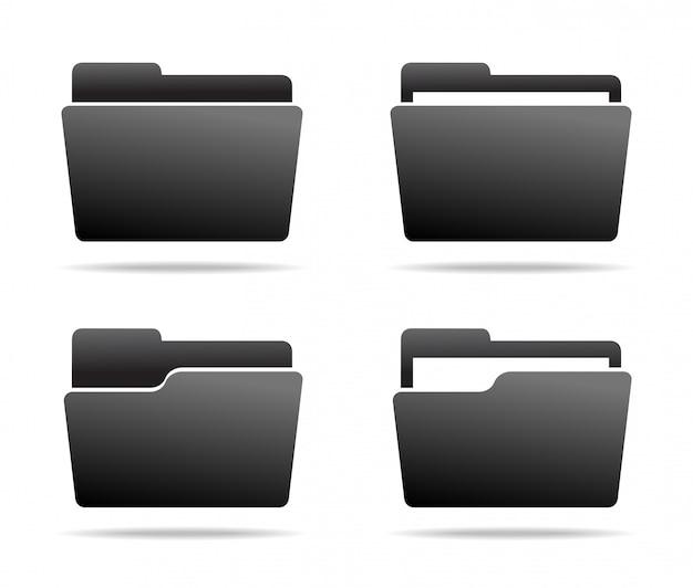 Set of dark grey folder icons.  .