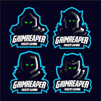 Set dark grim reaper mascot gaming logo
