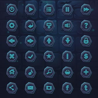 Set dark ice blue buttons for games