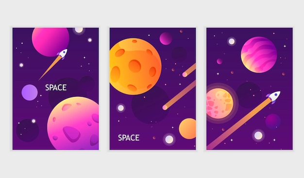 Set of dark space cards. universe. galaxy planets and stars