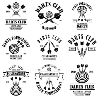 Set of darts club label templates.