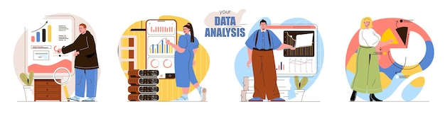 Set data analysis flat design concept illustration of people characters