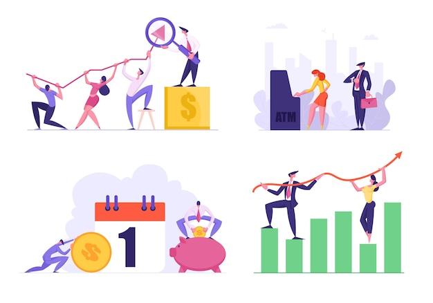 Set of data analysis growth charts illustration