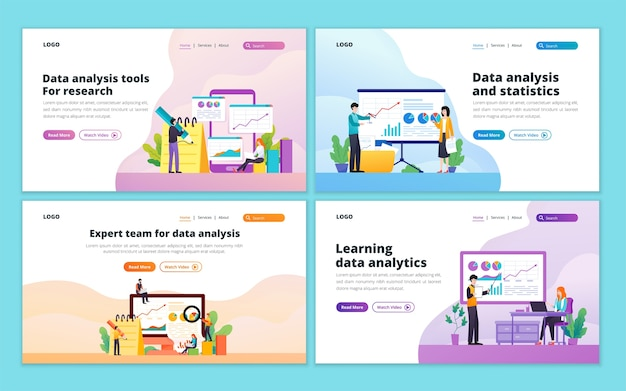 Set of data analysis landing page template