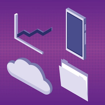 Set of data center icons