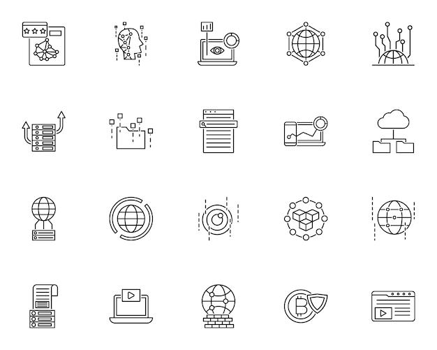 Set data technology outline icon