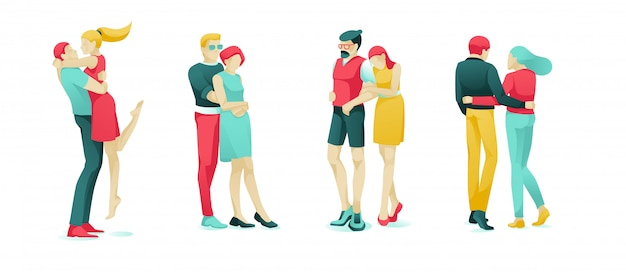 Set dating couples vector illustration.