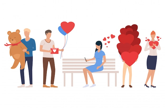 Set of dating people. men and women holding heart
