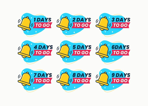Set of day countdown designs