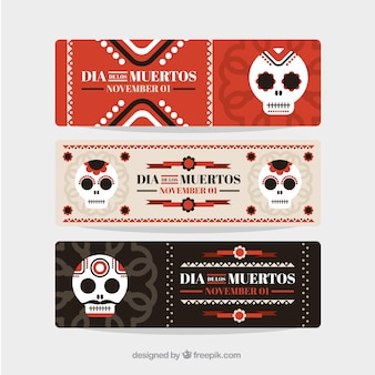 Set of day of the dead mexican banners