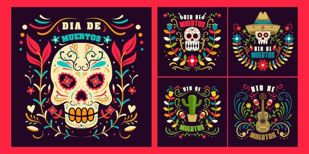Set day of dead in mexico, dia de los muertos holiday  template