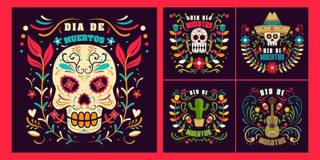 Set day of dead in mexico, dia de los muertos holiday  template