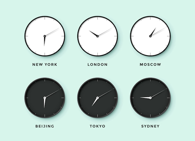 Set of day and night clock for time zones different cities. black and white watch on a mentol background.  illustration
