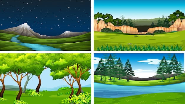 Set of day and night nature scenes
