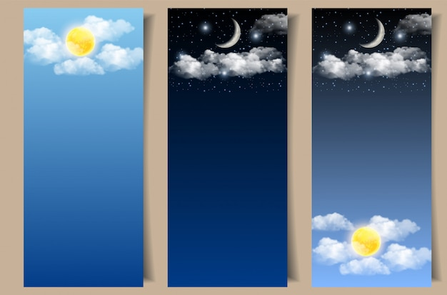 Set of day and night sky banners