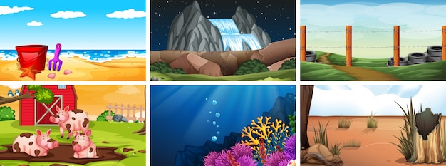 Set of day, night and underwater scenes or background