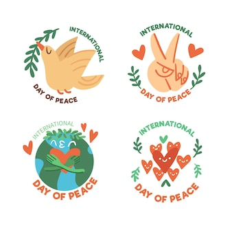 Set of day of peace badges