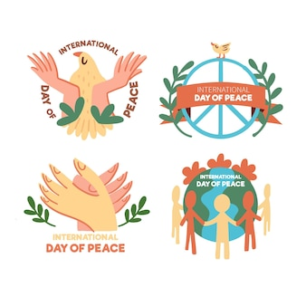 Set of day of peace labels