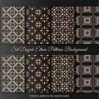 Set dayak ethnic pattern. indonesian batik pattern.