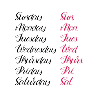Set of days of a week. handlettering calligraphy