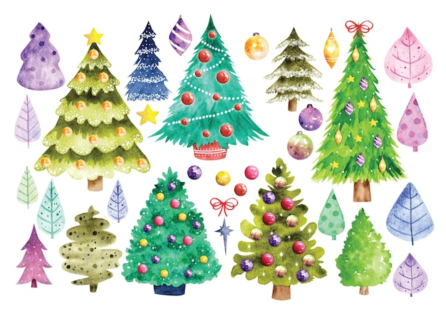 Set of decorated christmas tree in watercolor