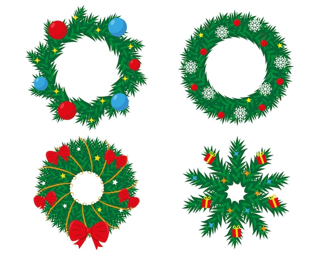 Set of decorated christmas wreath new year and christmas design