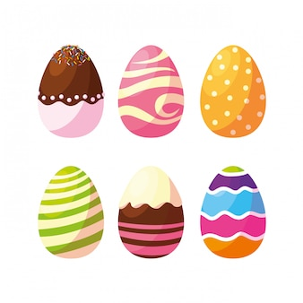 Set of decorated easter eggs with candies