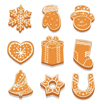 Set of decorated gingerbread cookies different shape