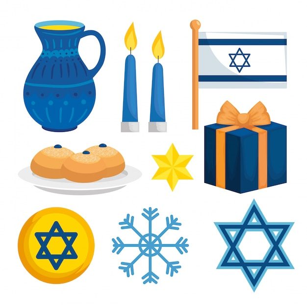 Set decoration of happy hanukkah