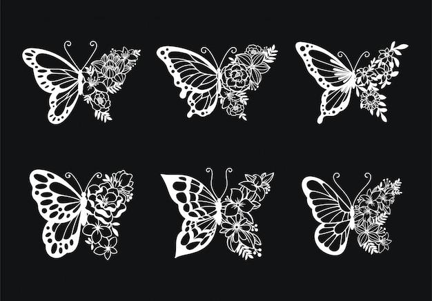 Set of decoration line art butterflies