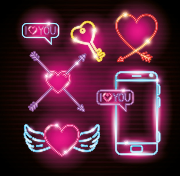Set of decoration valentines day of neon lights