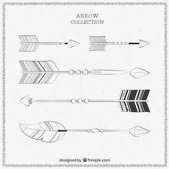 Insieme delle frecce decorative con diversi disegni