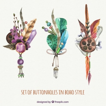 Set of decorative boho accessories in watercolor effect