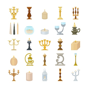 Set of decorative candlesticks and wax candles.