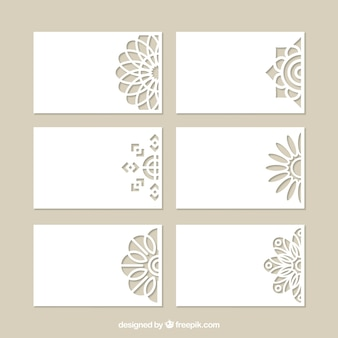 Set of decorative cards with laser cut