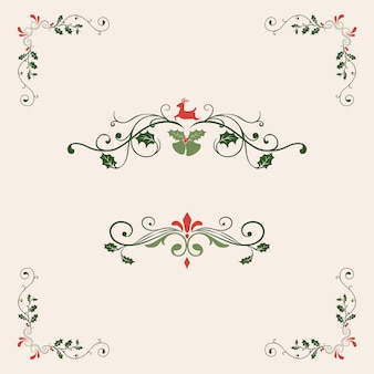 Set of decorative christmas designs for cards vector