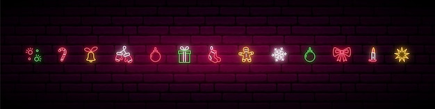 Set of decorative christmas elements in neon style.