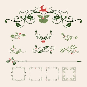 Set of decorative christmas ornaments
