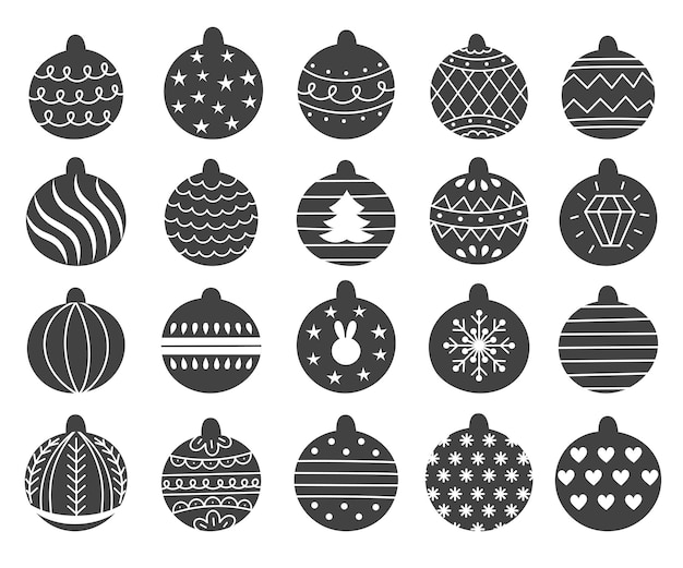 Set of decorative christmas toys for the tree, ball with a pattern. hand drawn vector illustration.traditional holiday symbol