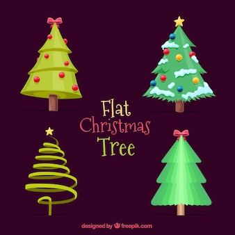 Set of decorative christmas trees with ornaments