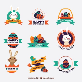 Set of decorative easter stickers in vintage design Free Vector