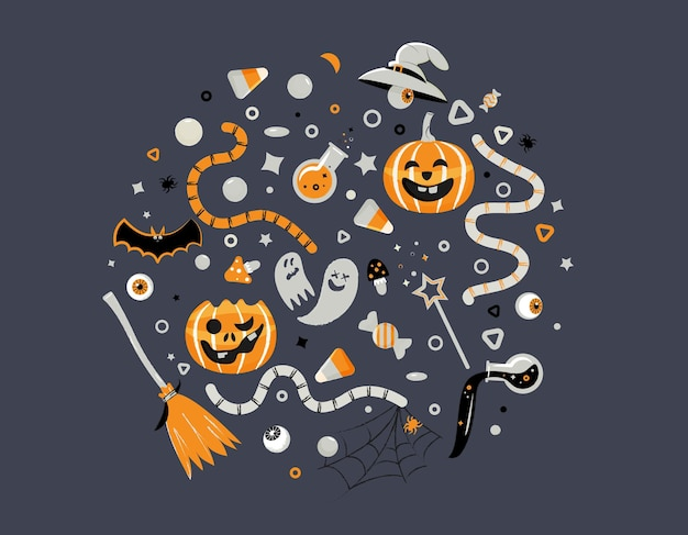 Set of decorative elements for halloween celebrations holiday accessories